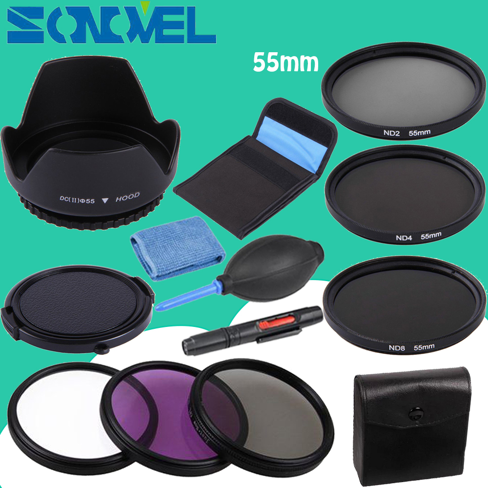55mm UV CPL FLD ND 2 4 8 Neutral Density Filter Lens Set + lens hood+Cap For Nikon D7500 D5600 D3400 D750 with AF-P 18-55mm Lens 2x cool led dynamic car door sill scuff plate guard sills protector trim for peugeot 4008 from 2012 2015 car styling