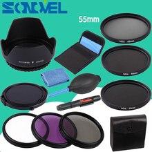 55 мм УФ CPL FLD ND 2 4, 8 Фильтр нейтральной плотности объектива Set + бленда + Кепки для Nikon D7500 D5600 D3400 D750 с AF-P 18-55 мм объектив
