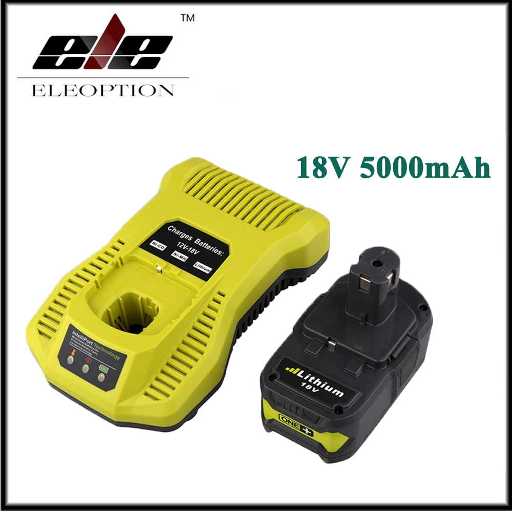 18V 5000mAh Li-Ion Rechargeable Battery For Ryobi P108 RB18L40 P2000 P310 For Ryobi ONE+ BIW180 With 12-18V Charger free customs taxes high quality skyy 48 volt li ion battery pack with charger and bms for 48v 15ah lithium battery pack