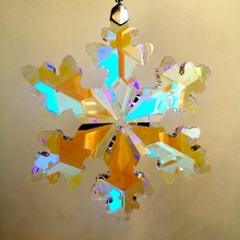89mm 10pcs AB Crystal Snowflake Chandelier Hanging Drops Crystal Christmas Ornaments For Home Decoration Or Car Decoration