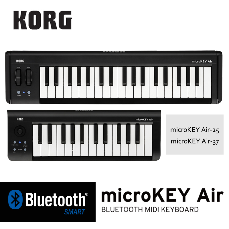 Korg MicroKEY air 25 MicroKEY air 37 Key Bluetooth and USB MIDI Controller Connect wirelessly to