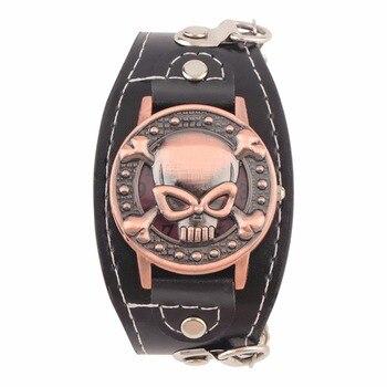 NEW Skull Cover Quartz Watch for Men Women PU leather Wristwatches Bracelet Watch Men's Biker Metal Relogio Masculino Bracelet Watches