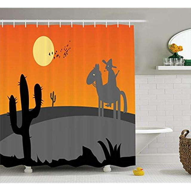 Vixm Southwestern Shower Curtain Cartoon Hot Mexico Desert Landscape With Saguaro Cactus And Horse Rider Fabric Bath Curtains