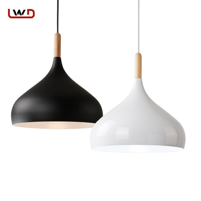 Modern Pendant Light Nordic Style Hanging Lamp Vintage Rustic Wood Iron Lampshade Lighting