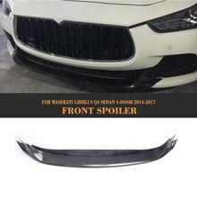 Carbon Fiber Front Bumper Lip Spoiler for Maserati Ghibli Sedan 4 Door 2014 - 2017 Car Tuning Parts