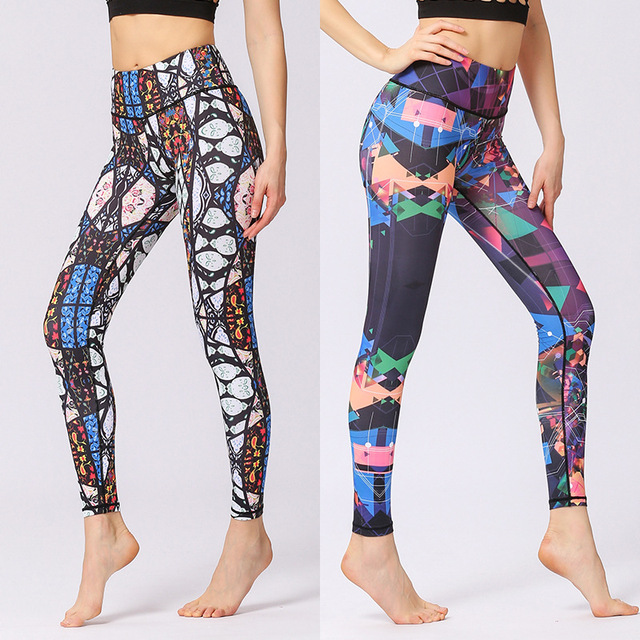 Flower Printed Yoga Pant Women High Waist Leggings Sports Tight Fitness Pants Slim Running Trousers Lady Beautiful Tights Gym 2