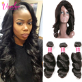7A 360 Lace Frontal With Bundles Malaysian Virgin Hair With Lace Frontal Closures Loose wave 3 Bundles Human Hair With Closure