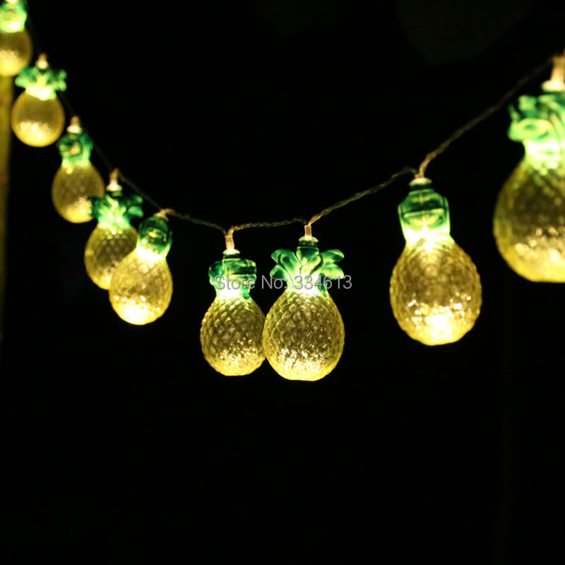 2M 10LED Battery Powered Pineapple Shaped String Lights Holiday Summer Bar Pub Party Fairy Lights Fruit Style Decorative Lights