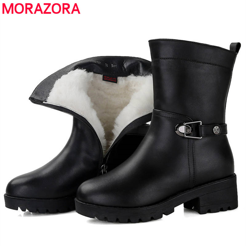 MORAZORA 2018 Russia warm winter snow boots women genuine leather boots natural wool thick fur platform shoes woman ankle boots cocoafoal women s wool snow boots woman ankle boots silvery winter snow boots flat with platform wool snow boots genuine leather