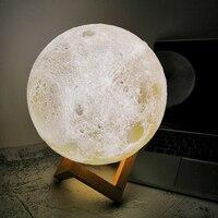 Перезаряжаемая Лунная лампа лунный свет 3D принт светодиодный ночник лампе прикроватный детский ночник Настольный Декор новинка подарок Пр...