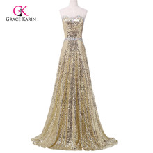 Grace Karin Luxury Women Long Evening Dresses 2017, Gold Golden Sequins Shining Formal Gowns Sweetheart robe de soiree 6103