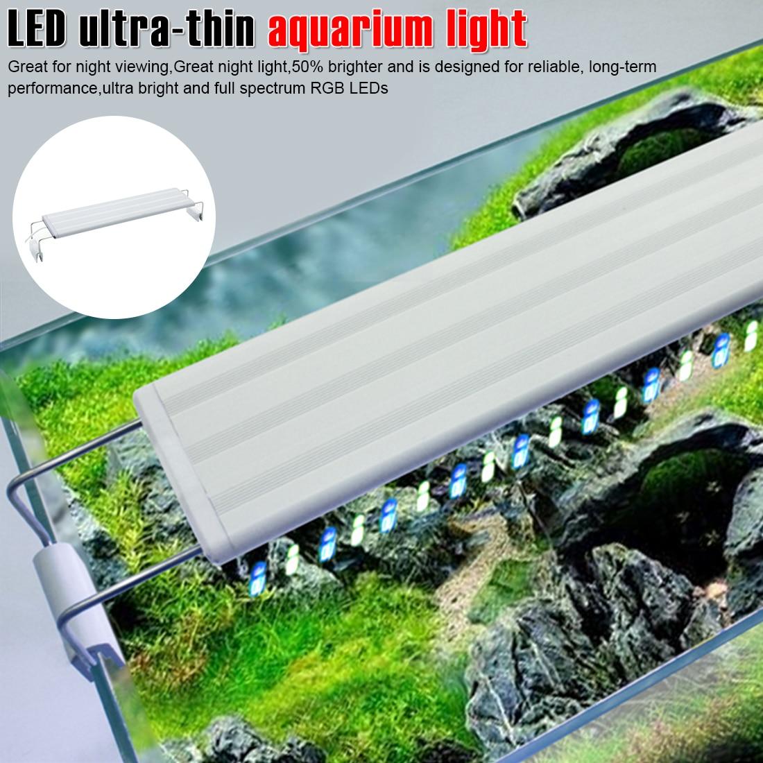 20-70CM Extensible Waterproof Clip-on Lamp  Fish Tank Super Slim LED Aquarium Light Aquatic Plant Lighting