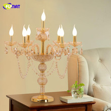 FUMAT Crystal Table Lamps Modern Art Copper Stand Lights For Living Room Bedside Floor Lights LED Fabric Shade Floor Lamp(China)