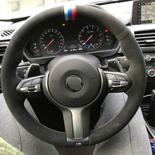 hot deal buy high quality suede handmade sewing steering wheel covers for bmw f87 m2 f80 m3 f82 m4 m5 f12 f13 m6 f85 x5 m f86 x6 m f33 f30