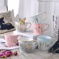 Natural Marble Design Glossy Porcelain Coffee Mug With Gold Monogram And Handle Mr And Mrs Blue