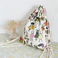 Women Backpack Canvas Drawstring Spacious Bags Cute Animal Student Traval Backpack Fashion Printing mochilas escolar menina Gift