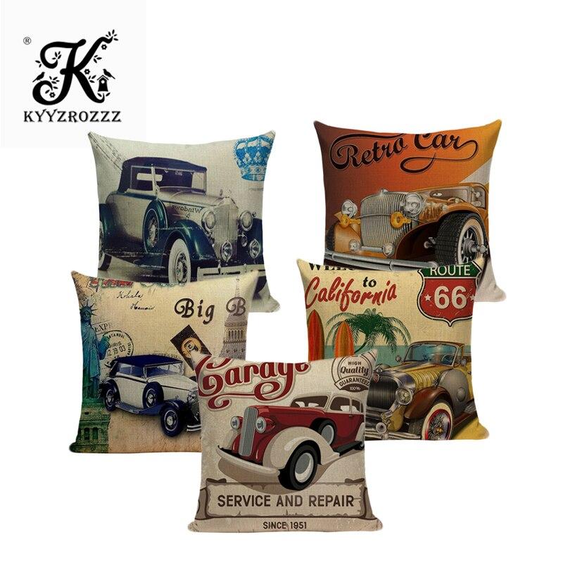Europe Vintage Retro Cars Cushion Covers Car Travel Trip English Letters Cushion Cover Sofa Decorative Beige Linen Pillow Case