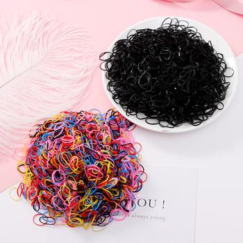 1000PCS lot jednorazowa guma do włosów dzieci TPU gumowe opaski ponytail Holder elastyczna opaska do włosów dziewczyny scrunchie Akcesoria do włosów tanie i dobre opinie Headwear PjNewesting girls hair accessories Moda Stałe Elastic Hair Bands