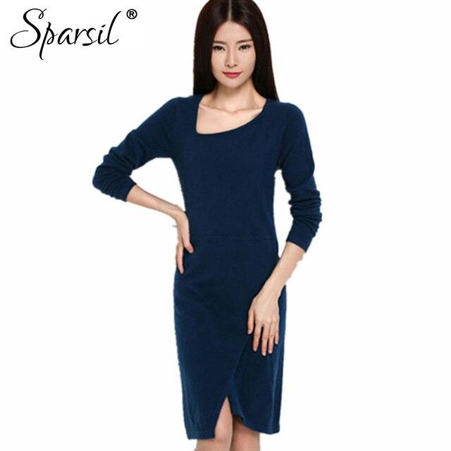 Sparsil mujeres spring & autumn cashmere blend vintage dress sexy femenina cuello irregular vestidos de noche elegante vestidos de fiesta