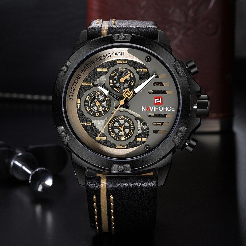 NAVIFORCE Mens Watches Top Brand Luxury Waterproof 24 hour Date Quartz Watch Man Leather Sport Wrist Watch Men Waterproof Clock 1