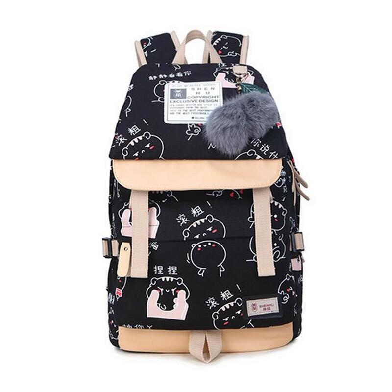 kawaii canvas bag school backpacks for teenage girls school bags women travel laptop backpack usb book bag pack girl schoolbag