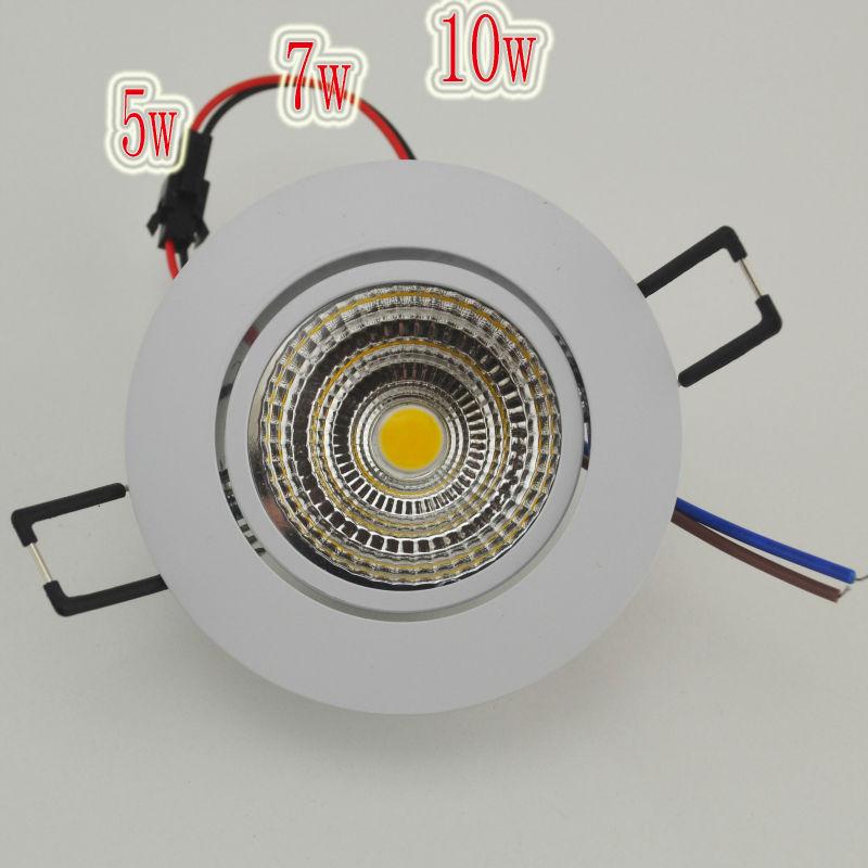 Новые светодиодные встраиваемые светильники 5W 7W 10W COB Чип светодиодный потолочный светильник прожектор лампы белый / теплый белый Бесплатная доставка