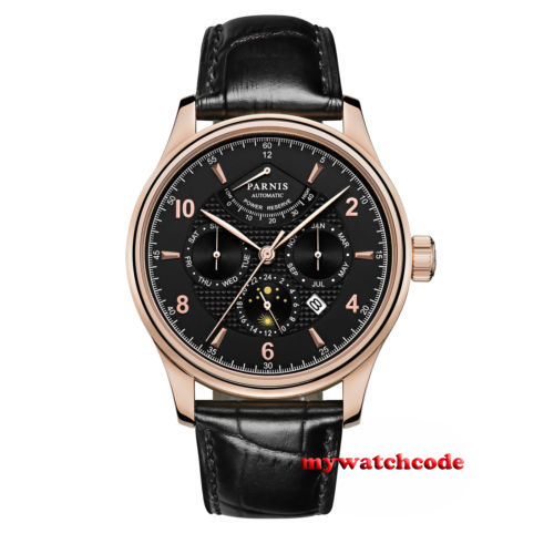 43mm Parnis Black Dial multi-function Power Reserve automatic Men's Watch P580