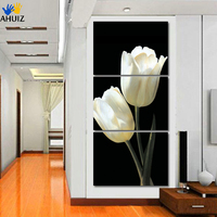 No Frame Picture Beautiful Tulip Flower 3 Panels Set HD Canvas Print Painting Artwork Wall