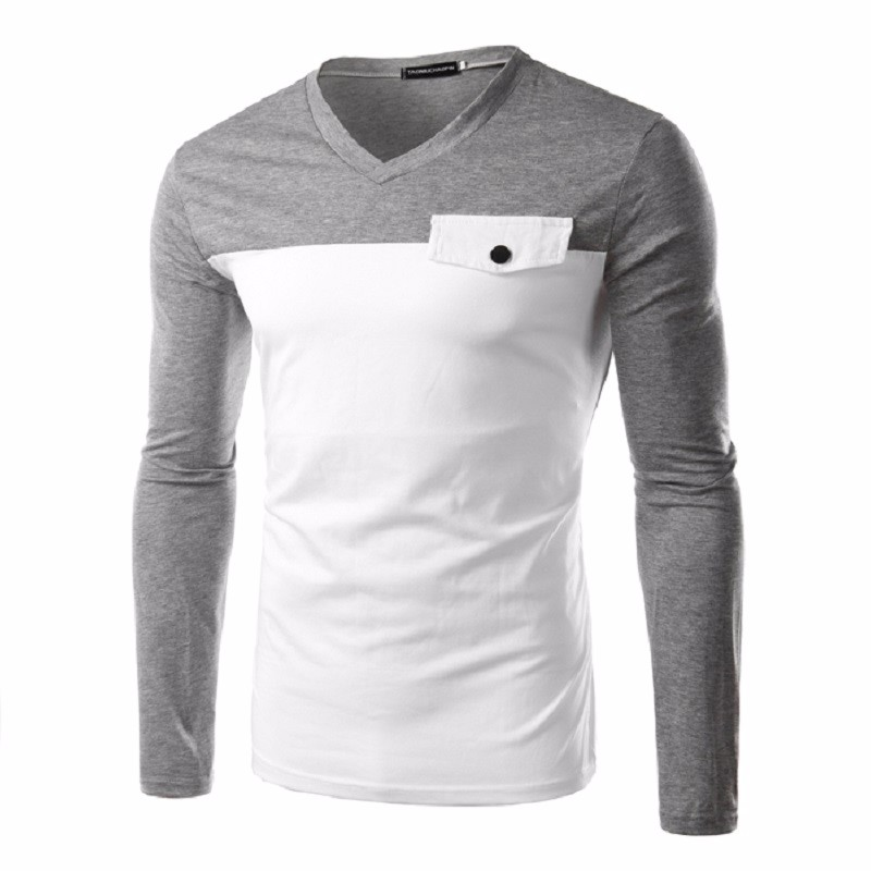 e8bc54a5b 2016 New Fashion Men'S T Shirts Leisure Home Style V Neck Stitching Design  Breathable Comfort Men'S Underwear Models Undershirt-in T-Shirts from Men's  ...