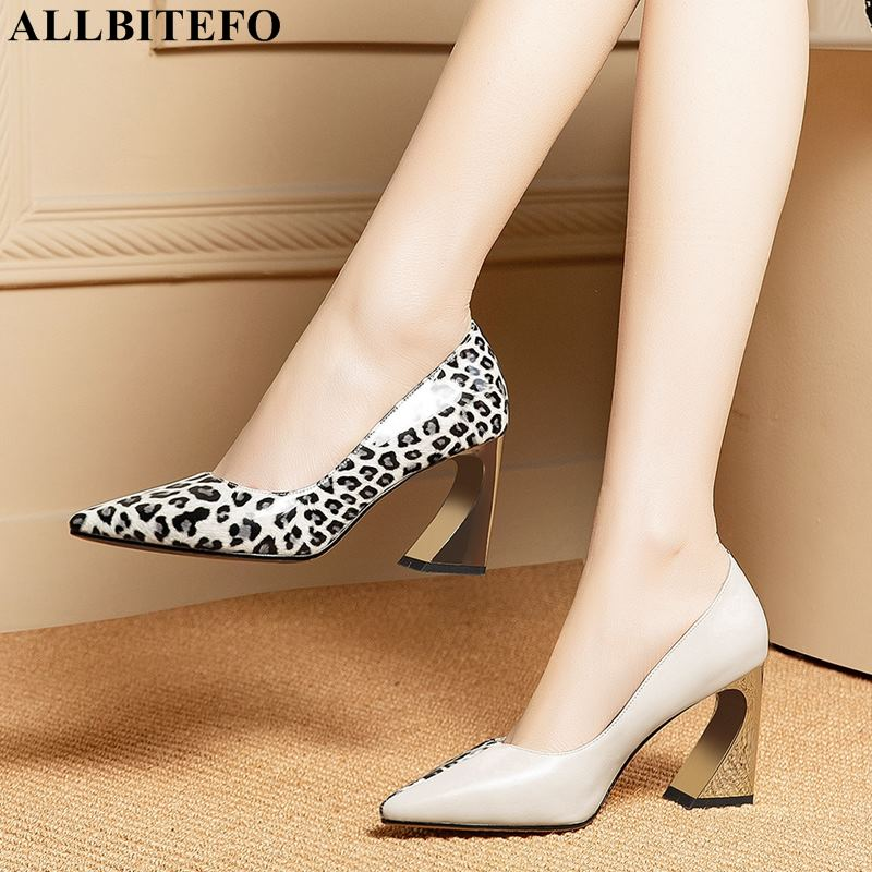 ALLBITEFO Heel Women Shoes Pointed-Toe Party Print Leopard Girls Sexy Genuine-Leather