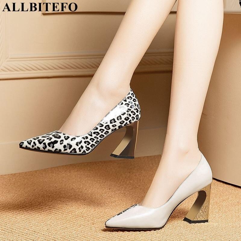 ALLBITEFO imprimé léopard en cuir véritable femmes talons hauts bout pointu mode sexy chaussures à talons hauts filles parti talon femmes chaussures