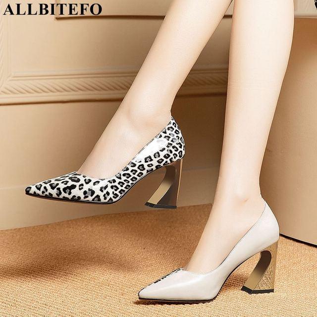 ALLBITEFO/леопардовым принтом натуральная кожа женские на высоком каблуке с острым носком модная пикантная обувь на каблуке для девочек вечерние каблук Женская обувь