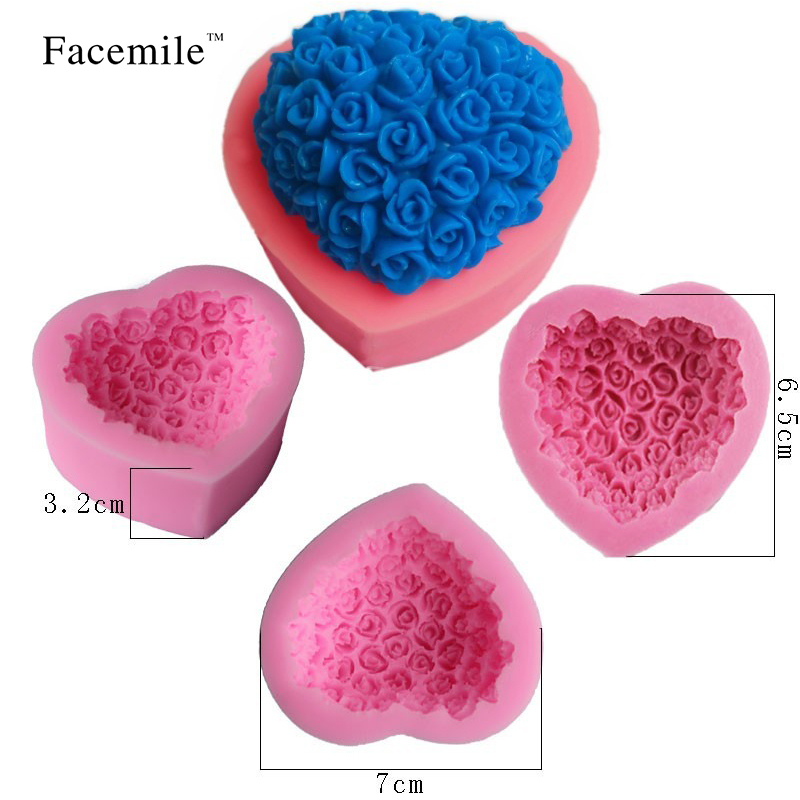 Mac New 9pcs/set DIY Baking Mold Soap Rose Flowers Chocolate Mold Soft Silicone Mold Silicone Soap Molds