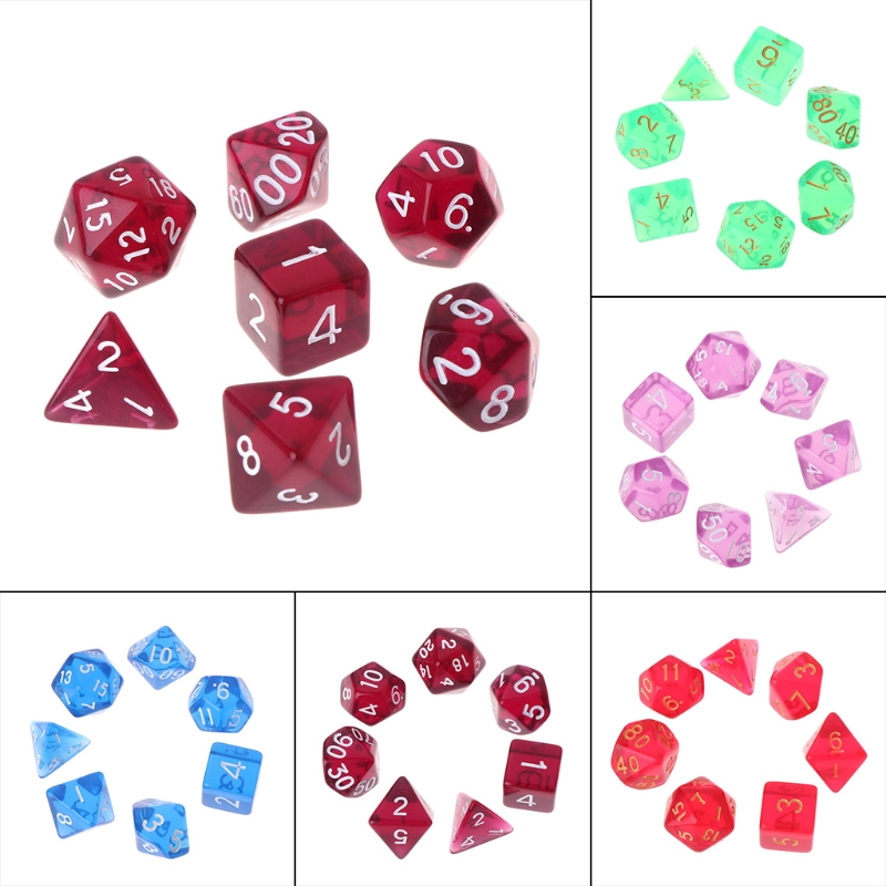7pcs/set Polyhedral Multi Sided Dice D4-D20 D&D RPG Poly Game