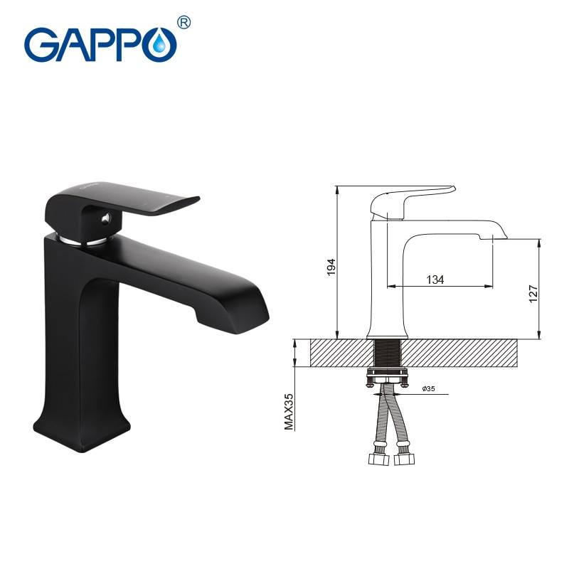 GAPPO robinets de bassin en laiton noir mitigeur de lavabo salle de bain robinet cascade robinet robinet d'eau mitigeur robinet torneira - 2