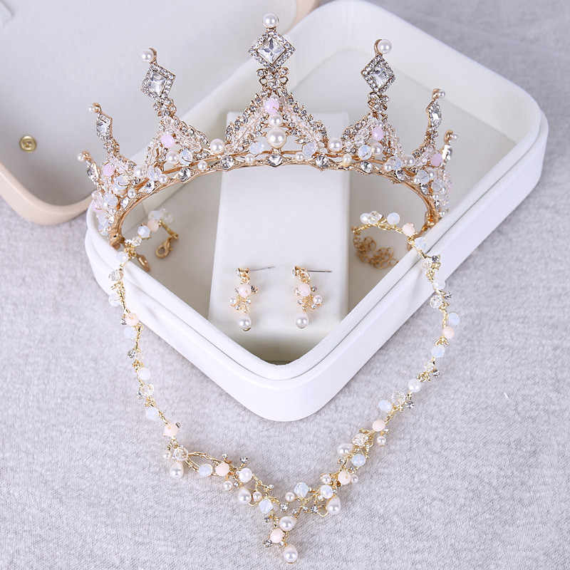 beautiful Tiaras Crown Jewelry Sets Bridal Wedding Necklaces Earrings set Fashion Hair Accessories Crowns NecklacesEarrings set