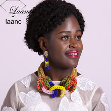 Laanc Multicolour Nigerian Wedding African Beads Jewelry Set Crystal Bridal Jewellery Sets Necklace AL407(China)