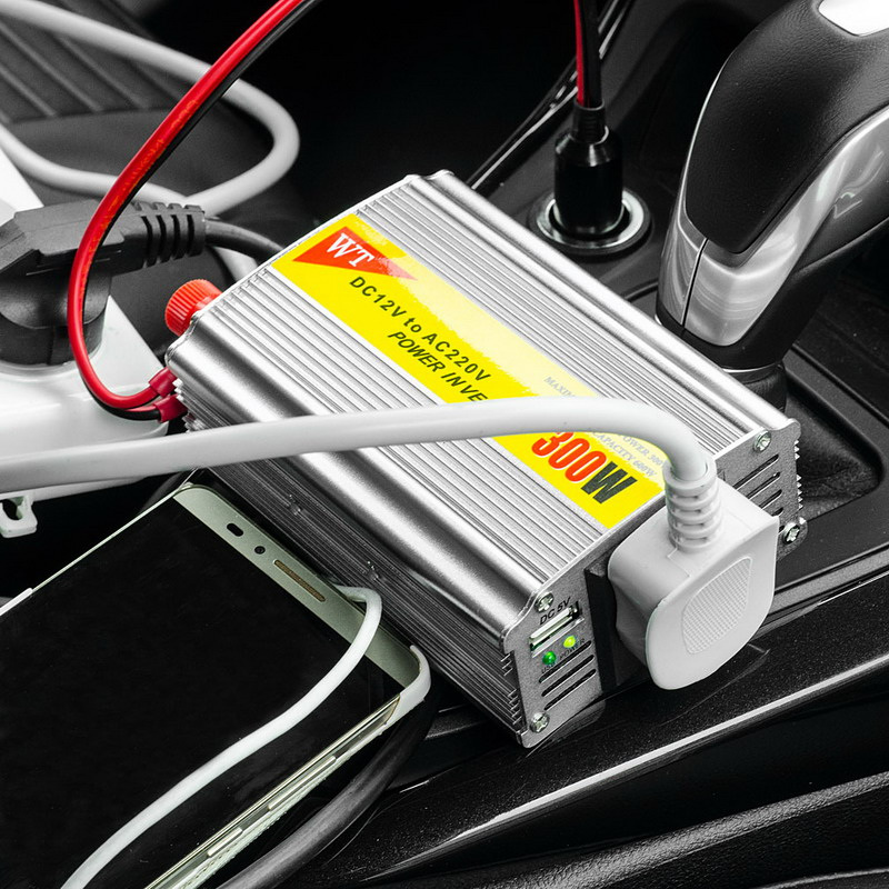 New 1 PCS 300W Outlets Power Inverter DC 12V to AC 220V Car Adapter Laptop Smartphone VEK03 new lp2k series contactor lp2k06015 lp2k06015md lp2 k06015md 220v dc
