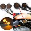 1 пара Мотоцикл Черная металлическая решетка Пуля указатель поворота световая лампа для Harley Кафе Racer поворотные сигнальные огни