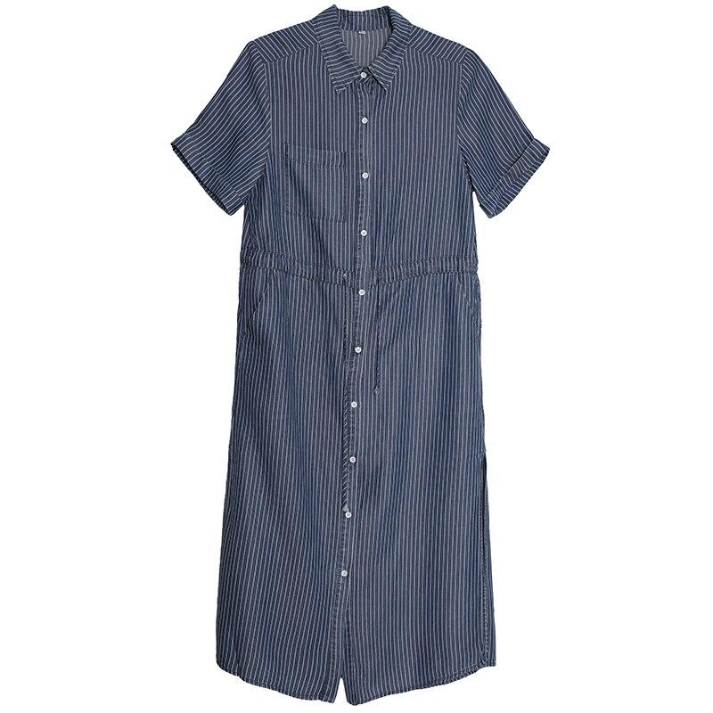 Pcrc Coton D'été Robes Casual Tencel Denim Femmes rwrqxZ1