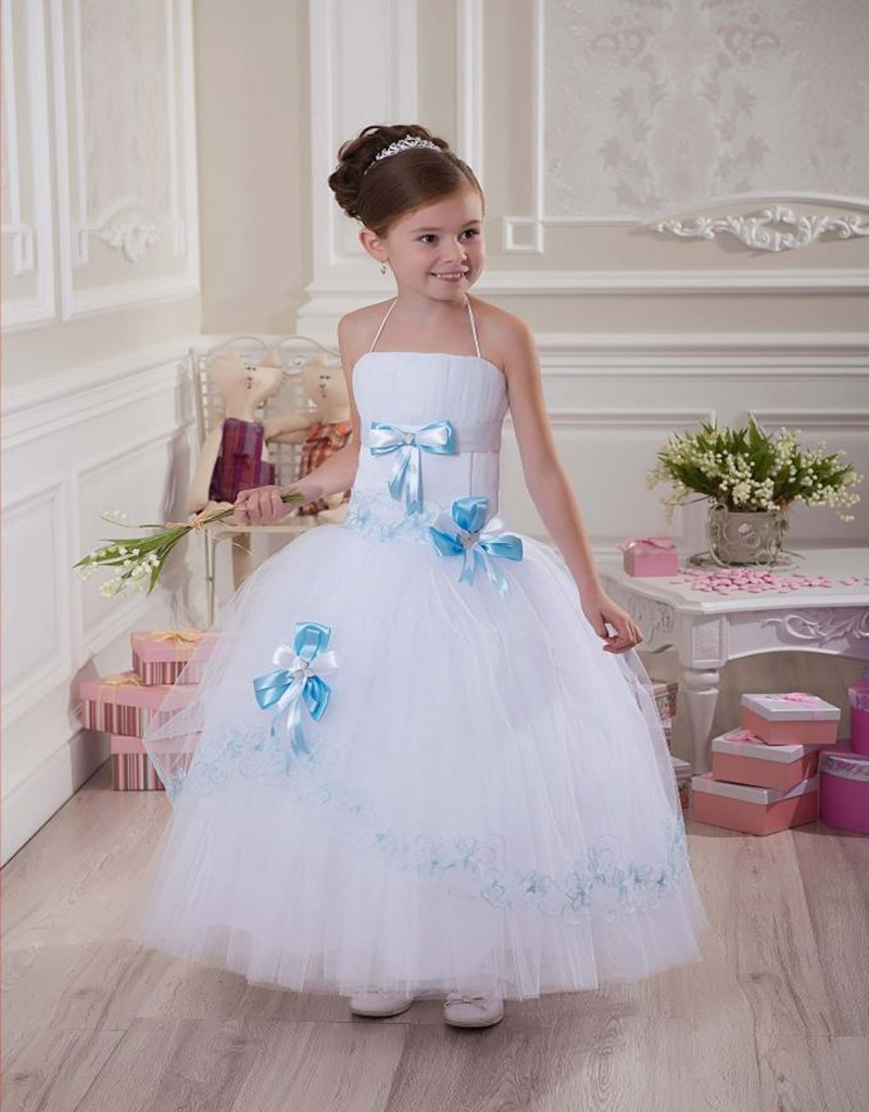Halter Bow Ball Gown Net Ankle Length Baby Girl Birthday