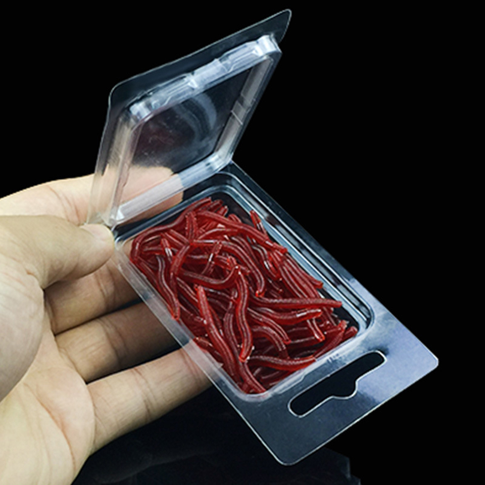 50PCS/Box Artificial Earthworm Fishing Lure Blood Worm Maggot Soft Bait River Stream Lake Freshwater Fishing Baits 50pcs new wifreo soft lure loader locker connector fishing worm hook bait accessories for bass fishing wholesale