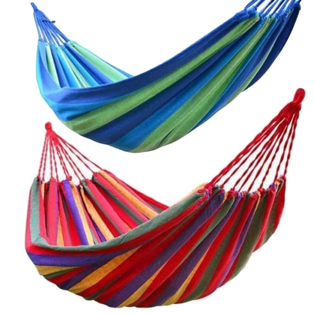 280*80 Cm 2 Personen Gestreepte Hangmat Outdoor Leisure Bed Verdikte Canvas Opknoping Bed Slapen Swing Hangmat Voor Camping Jacht 50% Korting
