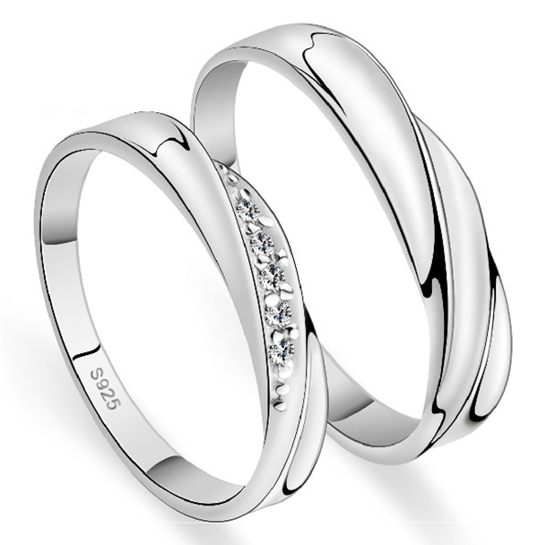 Aliexpresscom Buy Pair Of Anneau Couple Engagement Rings Silver