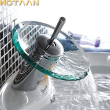 HOTAAN Excelente Calidad de latón Macizo cuarto de Baño Lavabo Grifo Cascada Grifo Buque Fregadero Cromo Pulido Glass YT-5029