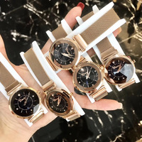 Fashion Multi Faceted Star Glass Women Crystals Watches Ultra Thin Milanese Bracelet Watch Magnet Buckle Steel Wristwatch Quartz