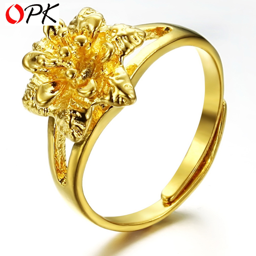 OPK JEWELRY promotion bridal jewelry 18K yellow gold plated flower ...