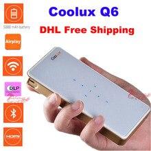 C oolux q6ใหม่โปรเจคเตอร์ขนาดพกพาขนาดเล็กแบบพกพามัลติมีเดียhdmi wifiสก์ท็อปproyector 5000มิลลิแอมป์ชั่วโมงสำรองสำหรับiphone/andoridมือถือ