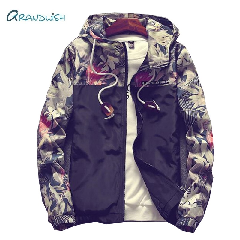 Grandwish Floral Jacket 2018 Autumn Mens Hooded Jackets Slim Fit Long Sleeve Homme Trendy Windbreaker Coat Drop Shipping,DA758