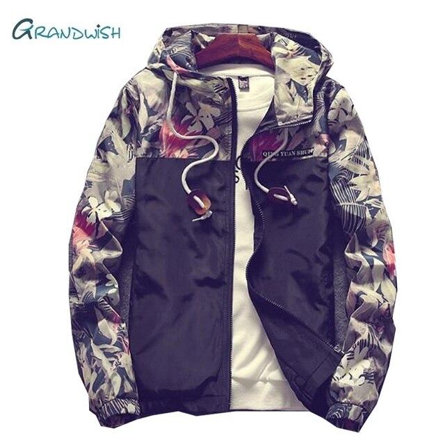 Grandwish Floral Jacket Autumn Mens Hooded Jackets Slim Fit Long Sleeve Homme Trendy Windbreaker Coat Drop Shipping,DA758